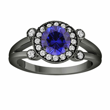 Blue Sapphire Engagement Ring 14K Black Gold Vintage style 1.12 Carat With Side Diamonds Unique Halo Pave Handmade Certified