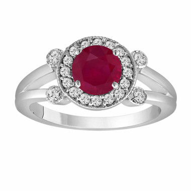 Red Ruby Engagement Ring 14K White Gold 1.12 Carat With Side Diamonds Unique Halo Pave Handmade Certified