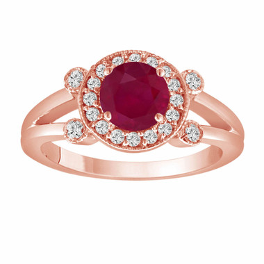 Red Ruby Engagement Ring 14K Rose Gold 1.12 Carat With Side Diamonds Unique Halo Pave Handmade Certified