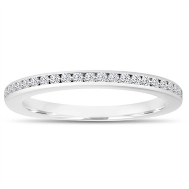 Diamond Wedding Band, Half Eternity Ring, Thin Band, Anniversary Ring, Stackable Ring