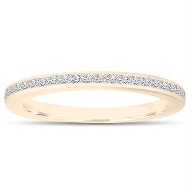 Diamond Wedding Band, Half Eternity Ring, Thin Band, Anniversary Ring, Stackable Ring 14k Yellow Gold Canal Set 0.22 Carat Handmade