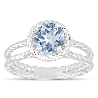 Blue Aquamarine Solitaire Engagement Ring, Rope Design Wedding Ring 0.85 Carat 14K White Gold Certified Handmade