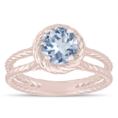 Blue Aquamarine Solitaire Engagement Ring, Rope Design Wedding Ring 0.85 Carat 14K Rose Gold Certified Handmade