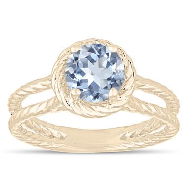 Blue Aquamarine Solitaire Engagement Ring, Rope Design Wedding Ring 0.85 Carat 14K Yellow Gold Certified Handmade