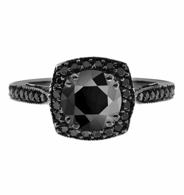 Natural Fancy Black Diamonds Engagement Ring Vintage Style 14K Black Gold 1.47 Carat Certified Pave Set HandMade