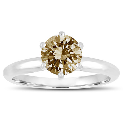 Fancy Champagne Brown Diamond Wedding Ring, Solitaire Engagement Ring 1.00 Carat 14K White Gold Handmade Certified