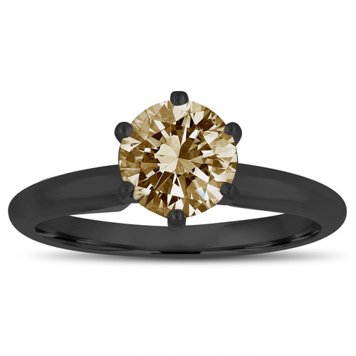 Champagne Brown Diamond Solitaire Engagement Ring 1.00 Carat 14K Black Gold Vintage Style Handmade Certified