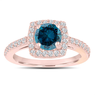 1.39 Carat Blue & White Diamond Engagement Ring 14K Rose GoldHalo Pave Unique Certified Handmade