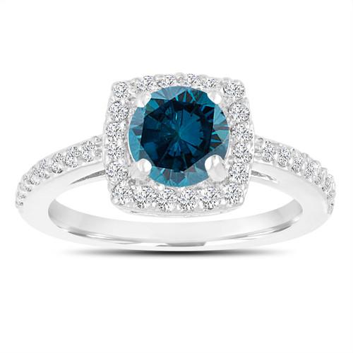 Fancy Blue Diamond Engagement Ring, Wedding Ring 14K White Gold 1.39 Carat Certified Halo Pave Handmade