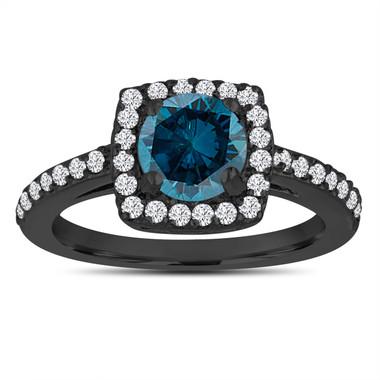 Fancy Blue Diamond Engagement Ring, Wedding Ring 14K Black Gold Vintage Style 1.39 Carat Certified Halo Pave Handmade