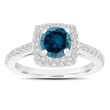 Platinum Blue Diamond Wedding Ring, Engagement Ring 1.39 Carat Certified Halo Pave Handmade