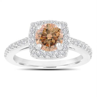 Fancy Champagne Brown Diamond Engagement Ring, Wedding Ring 14K White Gold 1.39 Carat Certified Halo Pave Handmade