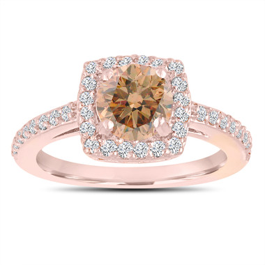 Champagne Brown Diamond Wedding Ring, Engagement Ring 14K Rose Gold Unique 1.39 Carat Certified Halo Pave Handmade