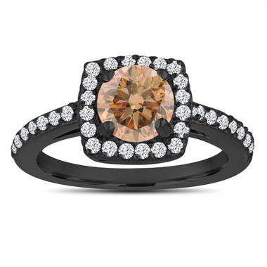 Fancy Champagne Brown Diamond Engagement Ring Unique 14K Black Gold Vintage Style 1.39 Carat Certified Halo Pave Handmade