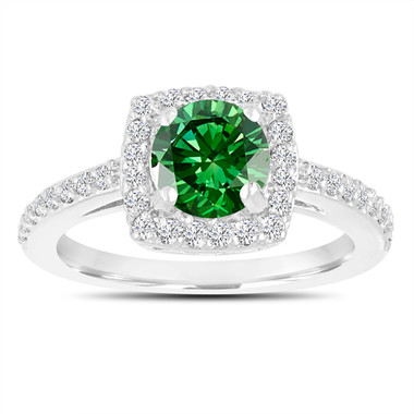 Fancy Green Diamond Engagement Ring, Wedding Ring 14K White Gold 1.39 Carat Certified Halo Pave Handmade