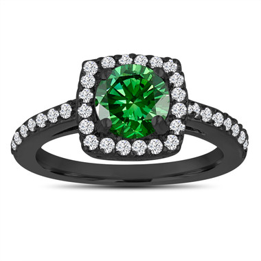 Fancy Green Diamond Engagement Ring, Wedding Ring 14K Black Gold Vintage Style 1.39 Carat Certified Halo Pave Handmade