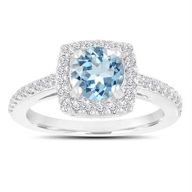 Aquamarine Engagement Ring, With Diamonds 14K White Gold 1.24 Carat Certified Pave Halo Handmade