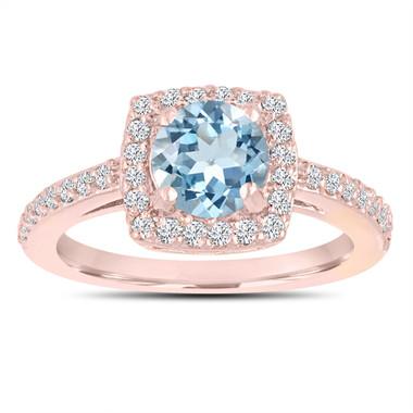 Aquamarine Engagement Ring, With Diamonds 14K Rose Gold 1.24 Carat Certified Pave Halo Handmade