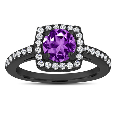 Amethyst Engagement Ring, With Diamonds 14K Black Gold Vintage Style 1.38 Carat Certified Pave Halo Handmade
