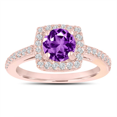 Amethyst Engagement Ring, With Diamonds 14K Rose Gold 1.38 Carat Certified Pave Halo Handmade