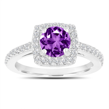 Amethyst Engagement Ring, With Diamonds 14K White Gold 1.38 Carat Certified Pave Halo Handmade