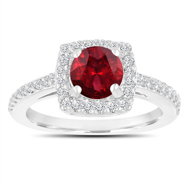 Garnet Engagement Ring, Diamonds Wedding Ring 14K White Gold 1.58 Carat Certified Pave Halo Handmade