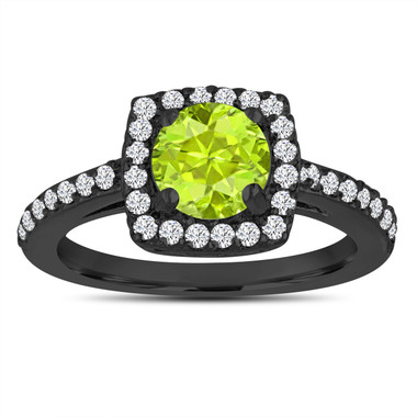 Peridot Engagement Ring, Wedding Ring 14K Black Gold Vintage Style 1.43 Carat Certified Pave Halo Handmade