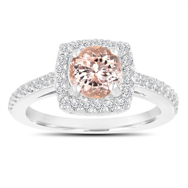 Morganite Engagement Ring 14K White Gold 1.28 Carat Certified Pave Halo Handmade