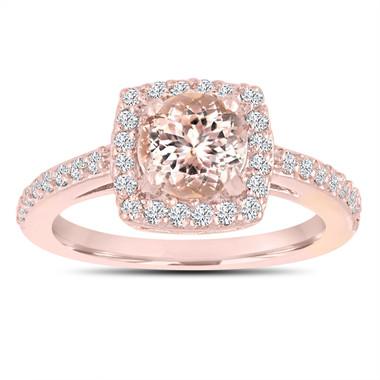 Pink Peach Morganite Engagement Ring 14K Rose Gold 1.28 Carat Certified Pave Halo Handmade