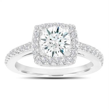 White Sapphire Engagement Ring, Wedding Ring 14K White Gold 1.38 Carat Certified Pave Halo Handmade