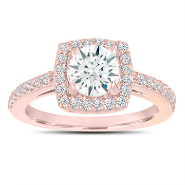 White Sapphire Engagement Ring, Wedding Ring 14K Rose Gold 1.38 Carat Certified Pave Halo Handmade