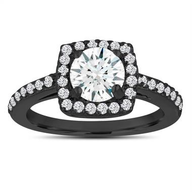 White Sapphire Engagement Ring, Wedding Ring 14K Black Gold Vintage Style 1.38 Carat Certified Pave Halo Handmade