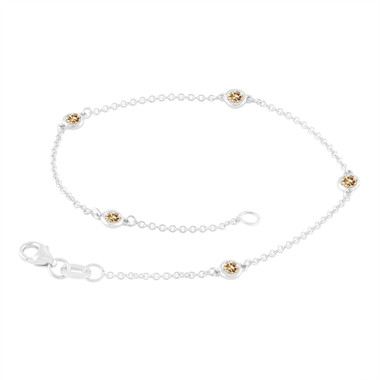 Fancy Champagne Brown Diamond By The Yard Bracelet 0.25 Carat 14k White Gold Handmade