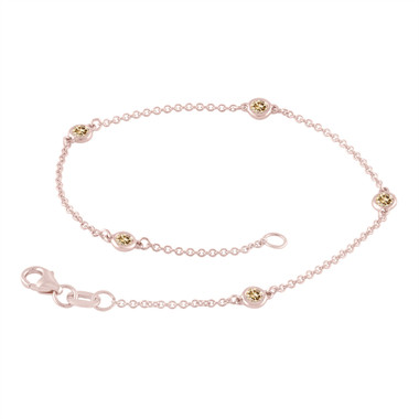 Fancy Champagne Brown Diamond By The Yard Bracelet 0.25 Carat 14k Rose Gold Handmade