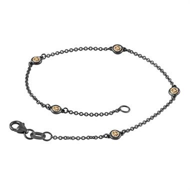 Fancy Champagne Brown Diamond By The Yard Bracelet 0.25 Carat 14k Black Gold Vintage Style Handmade