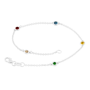 Multi Fancy Color Diamond By The Yard Bracelet Unique 0.25 Carat 14k White Gold Handmade