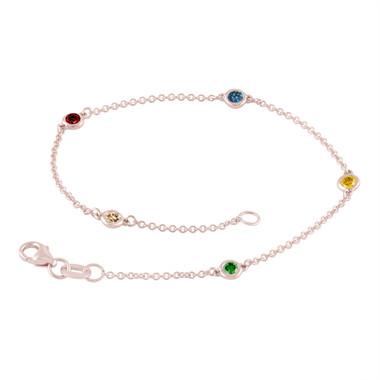 Multi Fancy Color Diamond By The Yard Bracelet Unique 0.25 Carat 14k Rose Gold Handmade