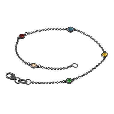 Multi Fancy Color Diamond By The Yard Bracelet Unique 0.25 Carat 14k Black Gold Vintage Style Handmade