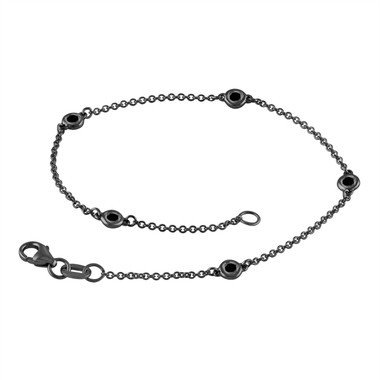 Fancy Black Diamond By The Yard Bracelet 0.25 Carat 14k Black Gold Vintage Style Handmade