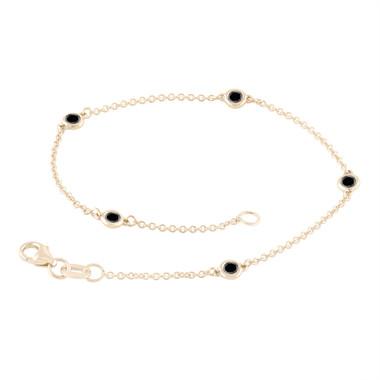 Black Diamond By The Yard Bracelet 0.25 Carat 14k Yellow Gold Handmade