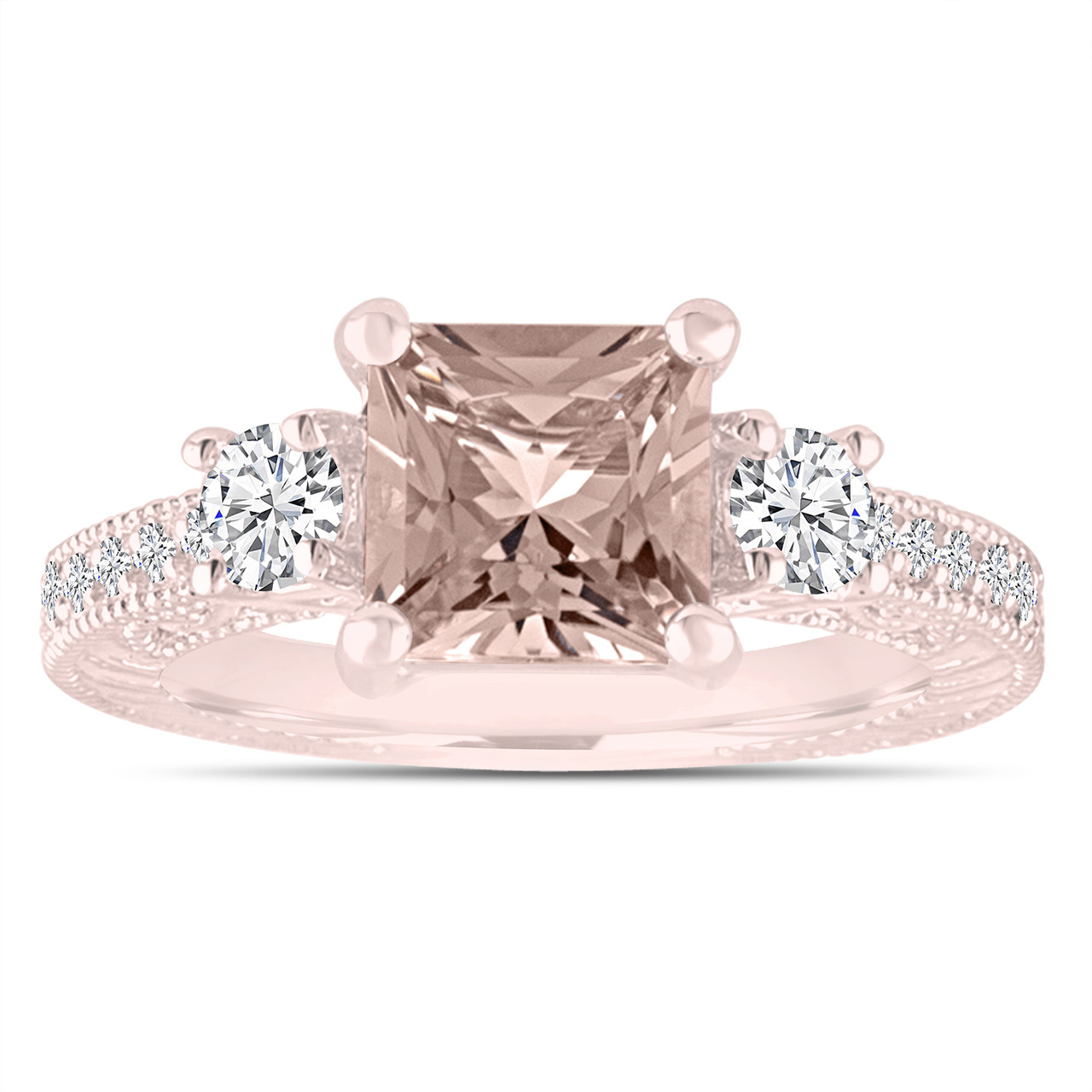 Princess Cut Morganite Engagement Ring Rose Gold Three