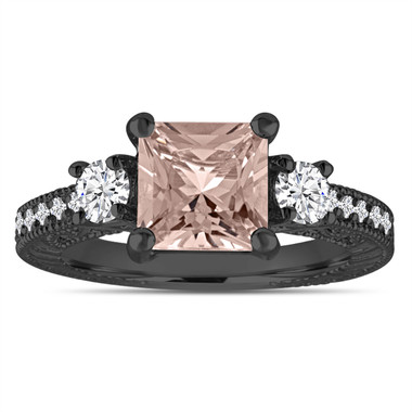 Princess Cut Peach Morganite Engagement Ring, Three Stone Wedding Ring 1.88 Carat 14K Black Gold Vintage Antique Style Engraved Handmade