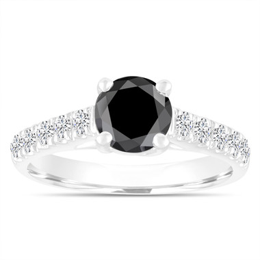 1.55 Carat Black Diamond Engagement Ring ,Wedding Ring, Statement Ring 14k White Gold Unique Handmade Certified