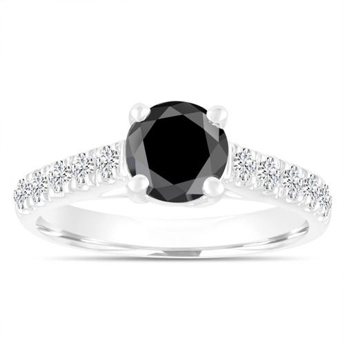 1.55 Carat Black Diamond Engagement Ring ,Wedding Ring, Statement Ring 14k White Gold Unique Handmade Certified