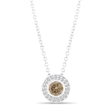 Fancy Champagne Brown Diamond Pendant Necklace 14K White Gold 0.45 Carat Halo Bezel And Micro Pave Set Handmade