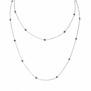 Blue Diamond By The Yard Necklace 1.45 Carat 36 Inch Long Chain 14k White Gold Handmade