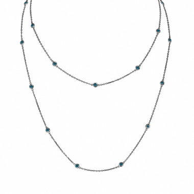 Blue Diamond By The Yard Necklace 14k Black Gold Vintage Style 36 Inch Long Chain 1.45 Carat Unique Handmade