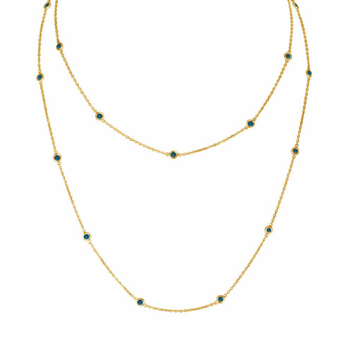36 Inch Blue Diamond By The Yard Necklace 1.00 Carat 14k Yellow Gold Long Necklace Handmade