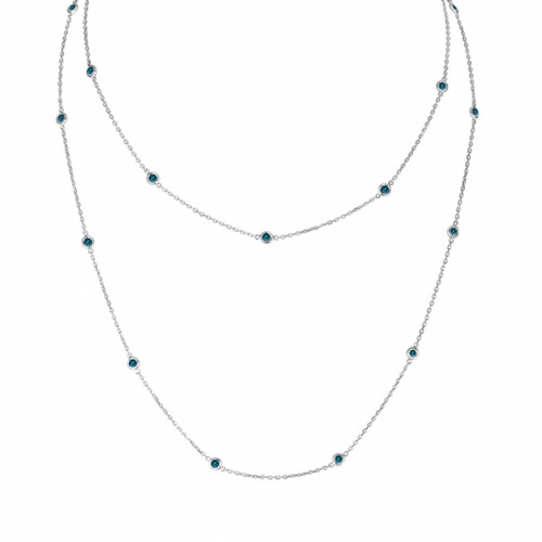 36 Inch Blue Diamond By The Yard Necklace 1.00 Carat 14k White Gold Long Necklace Handmade