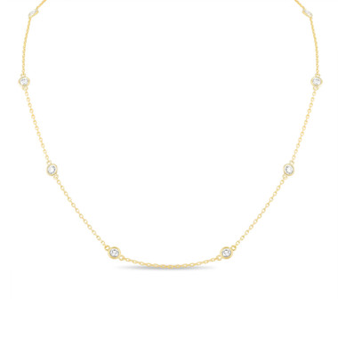 1.00 Carat Diamond By The Yard Necklace 14k Yellow Gold Fine Bezel Set